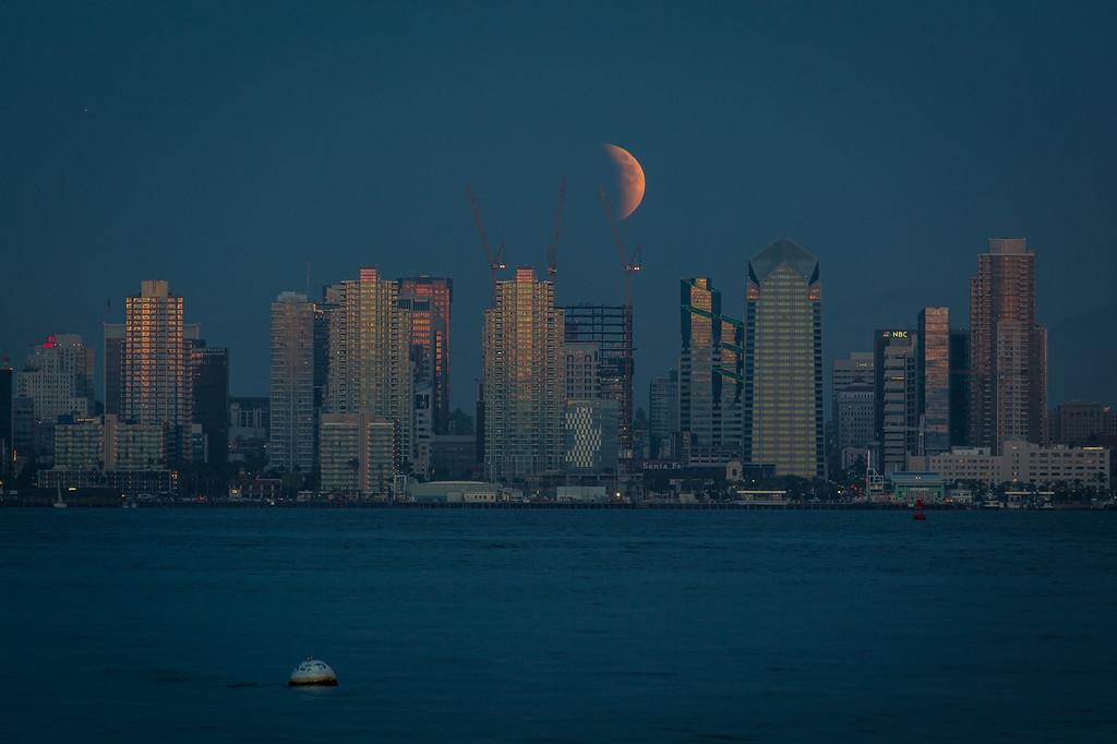 Lunar eclipse as seen from Shelter Island Sept. 27, 2015.